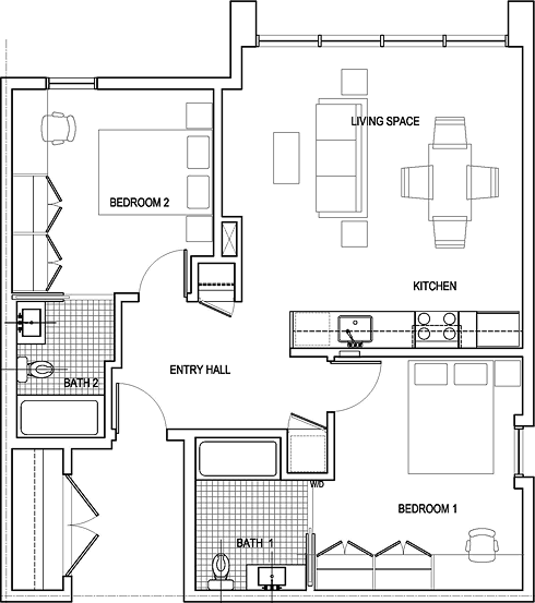 Two Bed Floor Plan