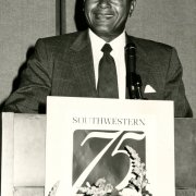 In 1986, Mayor Bradley helps celebrate the 75th Anniversary of Southwestern's founding (1911)