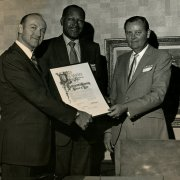 As a Los Angeles City Councilman, Tom Bradley presented a  proclamation from the city to Southwestern
