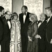 Ethel and Tom Bradley (center) with Dean Leigh H. Taylor, Rabbi Edgar Magnin, Mr. and Mrs. Irwin R. Buchalter '33, and President Paul Wildman at a Bradley Scholarship Fund Dinner. Mayor Bradley also served as co-chair of the Irwin R. Buchalter 75th Birthday Celebration to establish Southwestern's first named professorship in 1985.