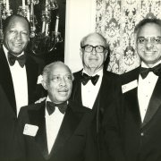 "Tom Bradley honors Los Angeles City Councilman Gilbert LIndsay (second from left) with Southwestern's Distinguished Citizen Award at the 1981 Tom Bradley Scholarship Fund Dinner. Mayor Bradley later served as honorary chairman of Southwestern's Gilbert and Theresa Lindsay Scholarship Endowment Fund ""Educating for Leadership"" Luncheon in 1987."