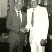 Mayor Bradley greets Nelson Mandela