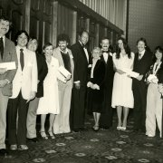 Mayor Tom Bradley, Judge Mary Parker and Dean Leigh H. Taylor (center) with recipients of the 1980 Tom Bradley Scholarship Awards