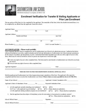 image of Enrollment Verification Form