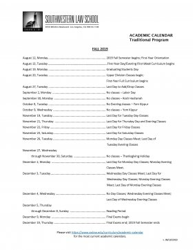 Image - 2019 Fall Academic Calendar