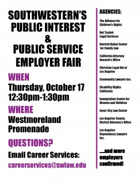 2019 Public Interest Public Service Employer Fair Flyer