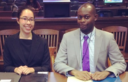 Alexa Whiteside and Yanick Saila-Ngita won first place at the Western Regional Black Law Student Association's Frederick Douglass Moot Court Competition